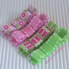 Preppy Pink and Green Set of 4 Four Hair Clip Bows by the wonderful Diane W Designs