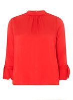 Womens Red Tie Cuff High Neck Blouse- Red