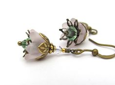 Pink Flower Earrings Blush Pink Lucite Peridot by hawaiibeads, $14.50