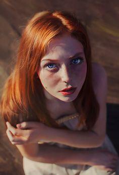 """Portrait of Marina Nery - Irakli Nadar"" (Model: Asima Sufic) - Taiyuan Lou {figurative realism art female redhead young woman face portrait digital painting}"