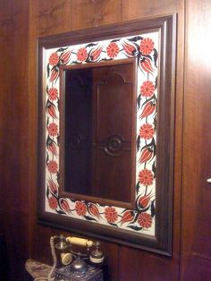 Mirror Mirror Tiles, Tile Art, Ceramics, Frame, Diy Ideas, Home Decor, Frame Mirrors, Crystals, Blue Prints