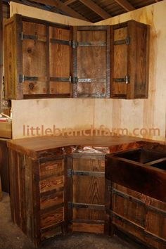 Home on pinterest barn wood reclaimed barn wood and for Barn style kitchen cabinets