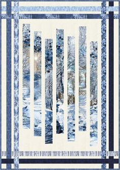 """FREE PATTERN: Scenic Snowfall - """"Fracture"""" - Quilt by Pam See"""