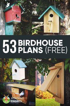 53 Free DIY Bird House More #birdhouses