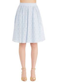 A Presh Start Skirt in Sky. Give a fresh and fanciful touch to any ensemble with this light blue skirt. #blue #modcloth