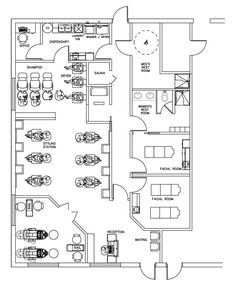 Beauty Salon Floor Plan Design Layout - 1700 Square Foot