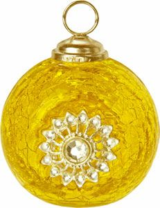 Yellow Place Card Holder (jewel glass bauble)