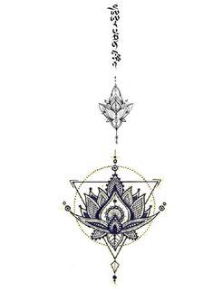 Lotus flower tattoo, Manjushri mantra