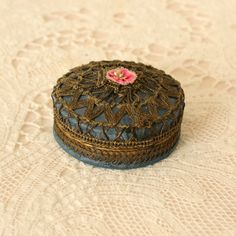 Antique French Powder Box Metallic Lace, Ribbon Work Rosette by TheFrenchLaundry on Etsy