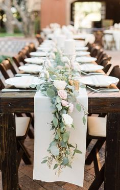 Green and blush pink table setting