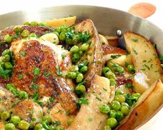 Chicken Vesuvio - Chicago Style from Wives with Knives (by: Marie at Proud Italian Cook) chicken dishes Great Recipes, Dinner Recipes, Favorite Recipes, Dinner Ideas, Recipe Ideas, Easy Recipes, Meal Ideas, Appetizer Recipes, Appetizers