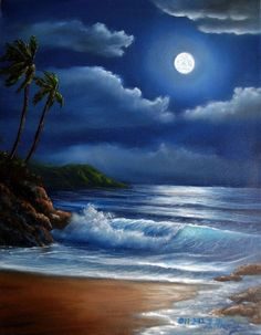 Half Off Sale - Original Oil Painting Tropical Midnight by artist Kathy McCartney - Bilder Seascape Paintings, Landscape Paintings, Oil Paintings, Watercolor Paintings, Beautiful Moon, Pictures To Paint, Beautiful Paintings, Painting Inspiration, Painting & Drawing