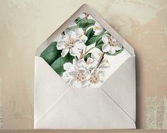 Plum Blossom Envelope Liners DIY Printable Wedding Invitations and Cards