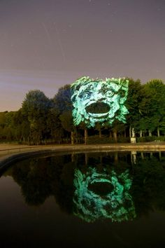 ghost in the machine - Projected Gargoyles on Trees by Clément Briend