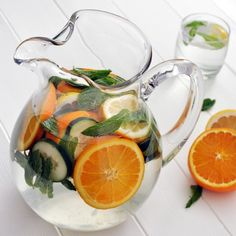 Refreshing Detox Water infused with oranges, lemon, cucumber and mint.