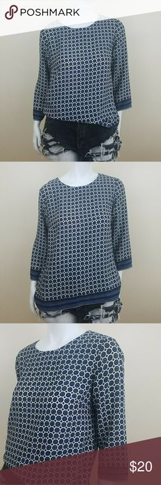 "Kenar Womens Navy White Geometric Printed Top ●Material: 100% Polyester  ●Measurements: Bust 19"" Length 24"" Sleeve 18""   ♡Used. Good Condition  ♡Smoke & Pet Free Home  ♡Ships Out Same or Next Day Kenar Tops"