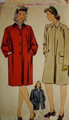 A Chesterfield Coat sewing pattern in two lengths.  Simplicity 4780 1940s Pattern is Size 11  Bust 29  This pattern is cut and complete.