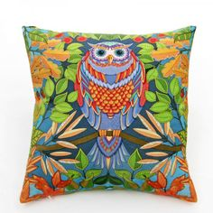 Owl throw pillow Pop Art style couch cushions home decoration