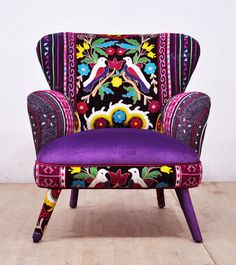 Hey, I found this really awesome Etsy listing at https://www.etsy.com/listing/462537842/suzani-armchair-purple-love
