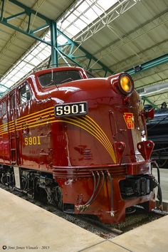Pennsylvania Railroad 5901 was built in 1945 and is now housed in the Pennsylvania Railroad Museum in Strasburg PA. This is the last EMD E7 of the more than 400 that were manufactured.