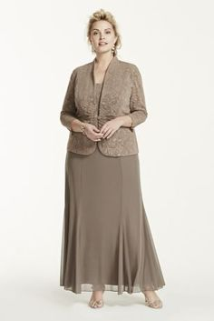 Perfect for any special guest or Mother of the Bride, you will look and feel great in this stunning jacket dress!  Sleeveless bodice features long knit dress that is not only fabulous but comfortable.  Jacquard knit detailing is unique and eye-catching.  3/4 sleeve jacket adds just the right amount of coverage.  Fully lined. Back zip. Imported acetate/poly/spandex blend. Hand wash.