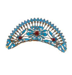 China | Crescent shape hair ornament;  inlaid with kingfisher feathers and glass beads | 19th century |  300€ ~ sold (Oct '14)