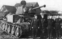 Soviet  T-34, equipped with two powerful loudspeakers on each side.