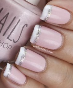 Glittered French tip nails super cute!