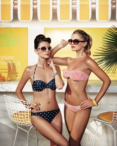 We'd want sunglasses, too. These bikinis are so bold and bright #SISwimsuit