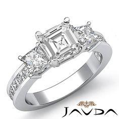 Asscher Diamond 3 Stone Prong Set Engagement Ring EGL G VS1 14k White Gold 2 1ct | eBay