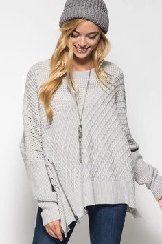 OSFA OVERSIZED CABLE KNIT SWEATER PONCHO - GREY $39.00   https://www.bluechicboutique.com/products/osfa-oversized-cable-knit-sweater-poncho-grey-3