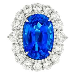 The color!! K. Fine Ceylon Sapphire and Diamond  RIng | From a unique collection of vintage bridal rings at https://www.1stdibs.com/jewelry/rings/bridal-rings/
