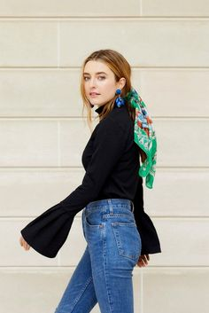 J.O.A. Black Bell Sleeve Mock Neck | How to Wear a Silk Scarf in your Hair