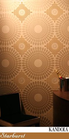 Kandola Wallpaper - Adore Collection - Starburst Flocked  An elegant geometric design, partly in flock including beautiful Swarovski crystals. A truly eye catching paper.