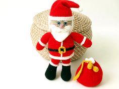 Peluche Papa Noel amigurumi tejido a crochet hecho a mano