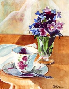 Tea Time Still Life watercolor painting