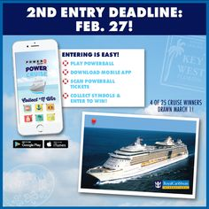 Play #Powerball and enter to win BIG and adventure BIGGER! There will be six weekly drawings starting Feb. 22 where a total of 25 Iowa #PBPowerCruise packages will be awarded! HOW TO ENTER: Purchase any Powerball ticket Sunday, February 5 through Monday, March 29, 2017, then scan your ticket on your smart phone or enter them manually online in your VIP Club account for a chance to collect cruise vacation symbols. When all six symbols have been collected, you'll be entered to win!