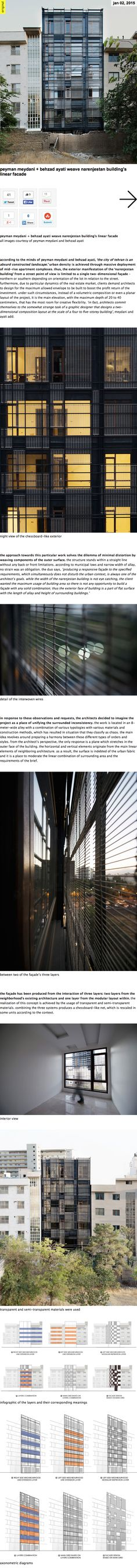 architects commit themselves to the somewhat strange task of a graphic designer that designs a two-dimensional composition layout at the scale of a four to five-storey building. the façade has been produced from the interaction of three layers: two layers from the neighborhood's existing architecture and one layer from the modular layout within. the realization of this concept is achieved by the usage of transparent and semi-transparent materials.