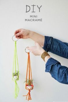 Easy Macrame Projects for the Beginner : Mini Bright Colors Macrame Plant Hanger Macrame is a super popular diy trend. Check out these super easy macrame projects for the beginner. You can complete them in a weekend and make something t Macrame Projects, Craft Projects, Fun Crafts, Arts And Crafts, Ideias Diy, Macrame Plant Hangers, Macrame Plant Holder, Crochet Plant Hanger, Rope Plant Hanger