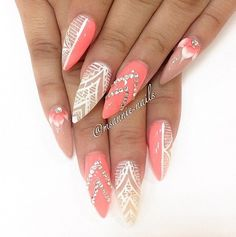 Coral with white negative space design stiletto nails, soooo pretty