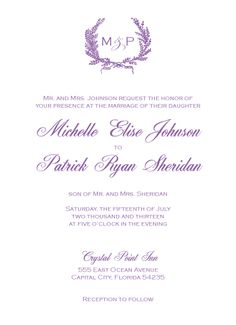 Lavender Wreath Wedding Invitation