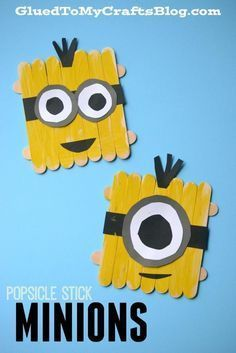 Popsicle Stick Minions - Kid Craft Idea Inspired By The Movie! - Popsicle Stick Minions – Kid Craft You are in the right place about boho crafts Here we offer you - Daycare Crafts, Toddler Crafts, Preschool Crafts, Craft Activities For Kids, Projects For Kids, Craft Projects, Craft Ideas, Play Ideas, Family Activities