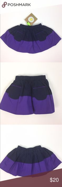 Margherita Girls' Cotton Pocket Skirt 1-3 Months Navy and purple elastic waist skirt with front pockets by Margherita. Fully lined, 100% cotton. Brand new with tags. A04020 Margherita Bottoms Skirts