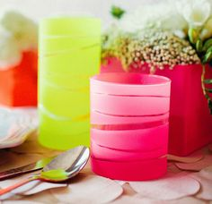 Opaque Striped Vases - Easy and Effective - DIY Home Decor Project