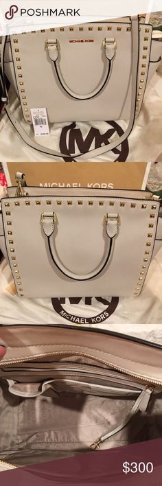 """Michael Kors Selma stud size large NWT Vanilla color Details & Care Polished pyramid studs accentuate the clean, structured lines of an essential satchel cast in lavish Saffiano leather and furnished with an optional shoulder strap for effortless, on-the-go versatility. Top zip closure. Interior zip, wall and cell-phone pockets; key clip. Protective metal feet. Logo-jacquard lining. Saffiano leather. 13""""W x 9""""H x 5 1/2""""D. (Interior Capacity: large.) Strap drop: 4"""". Shoulder strap drop: 17…"""