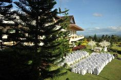 Outdoor Wedding overlooking the volcano within the lake at Tagaytay Midlands--- Philippine wedding Tagaytay, Wedding Pins, Volcano, Wedding Planner, Past, Presents, Weddings, Future, Holiday Decor