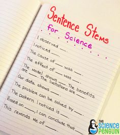 Starting Out with Sentence Stems- This post has ideas for using sentence stems in math, social studies, and science. | The Science Penguin