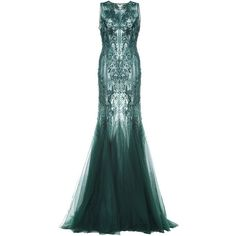 Monique Lhuillier Embroidered Tulle Gown ($8,995) ❤ liked on Polyvore featuring dresses, gowns, tulle ball gown, green evening gown, green evening dress, beaded gown and a line gown