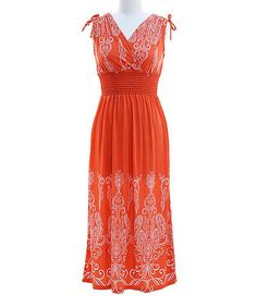 Another great find on #zulily! Orange Damask Surplice Dress by Peach Couture #zulilyfinds