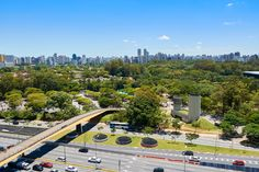 Sao Paulo city, Brazil. Ibirapuera Park - View of houses and buildings near Ibirapuera Park in the city of Sao Paulo, Brazil.